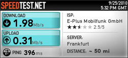 E-Plus HSDPA Speedtest