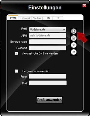 Klarmobil Surfstick APN Profil anlegen