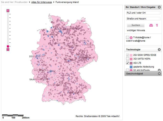 Netzabdeckung von T-Mobile (UMTS/HSPA/LTE)