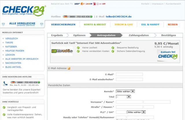 Bestellung - Klarmobil Internet Flat 500
