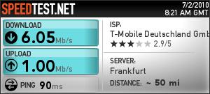 Speed-Test bei speedtest.net