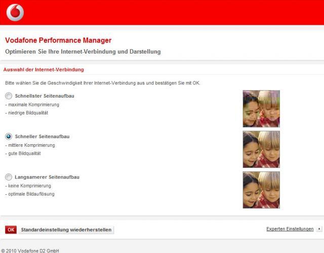 Vodafone Performance Einstellungen - Bildqualität verbessern/verschlechtern