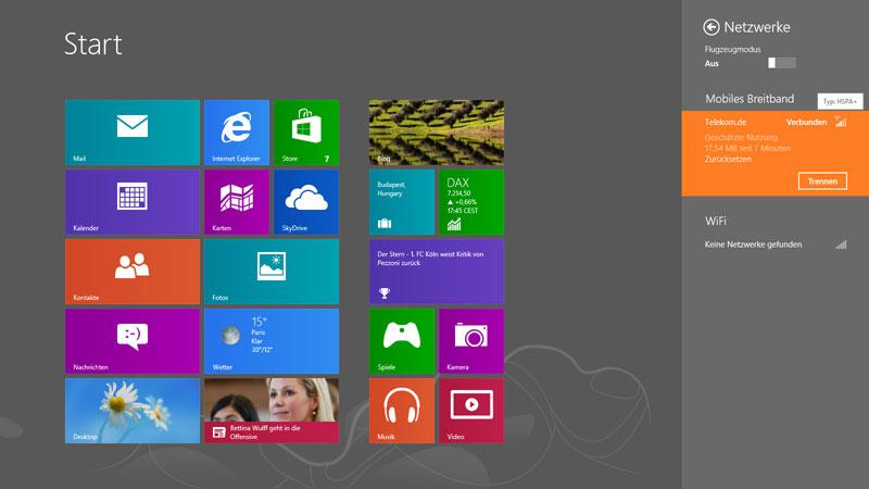 Windows 8 Startscreeen und Netzwerk